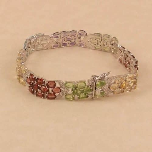 "LADIES GEMSTONE & DIAMOND .925 SILVER 7"" BRACELET -"