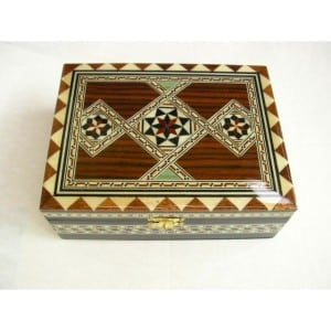 MARQUETRY WOODEN JEWELLERY BOX