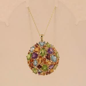 MULTI-GEMSTONE 18K GOLD OVER.925 STERLING SILVER CLUSTER PENDANT