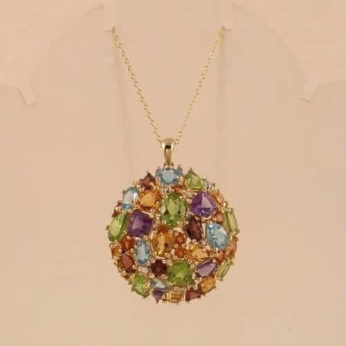 MULTI-GEMSTONE 18K GOLD OVER.925 STERLING SILVER CLUSTER PENDANT -