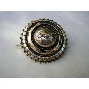 RARE C1880 SOLID 9CT GOLD VICTORIAN LOCKET BACK BROOCH1