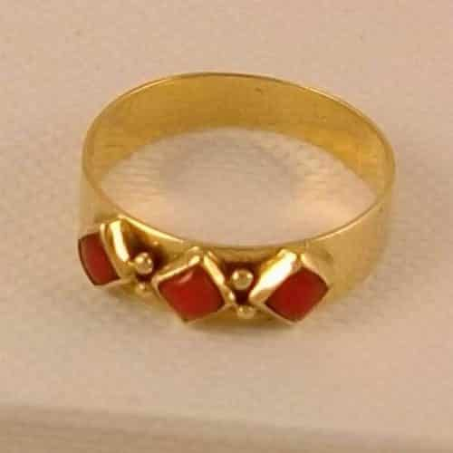 RARE FIND, VINTAGE DUTCH 14K GOLD RING WITH PINK CORAL, MUST -
