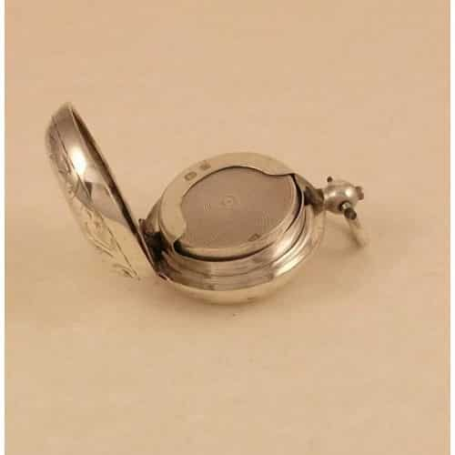 STUNNING LARGE CLEAN ANTIQUE SOLID SILVER CIRCULAR VESTA MATCH CASE B1900 -
