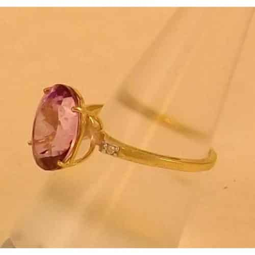 STUNNING PINK MYSTIC TOPAZ & DIAMOND 9 CT GOLD RING -