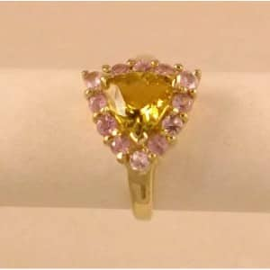 SUPERB 9CT GOLD CITRINE & PINK TOPAZ SET RING