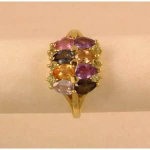 SUPERB 9CT GOLD & NATURAL MULTI GEM SET CLUSTER RING