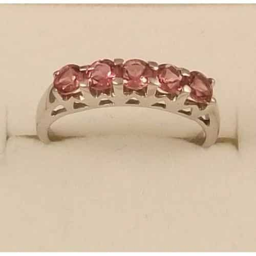 SUPERB 9CT SOLID WHITE GOLD & PINK TOPAZ RING -