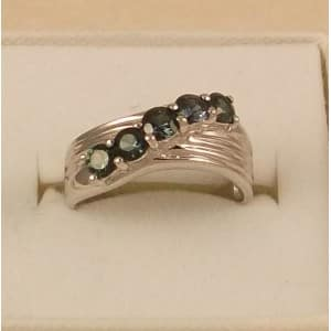 SUPERB 9CT SOLID WHITE GOLD & TOURMALINE SET RING