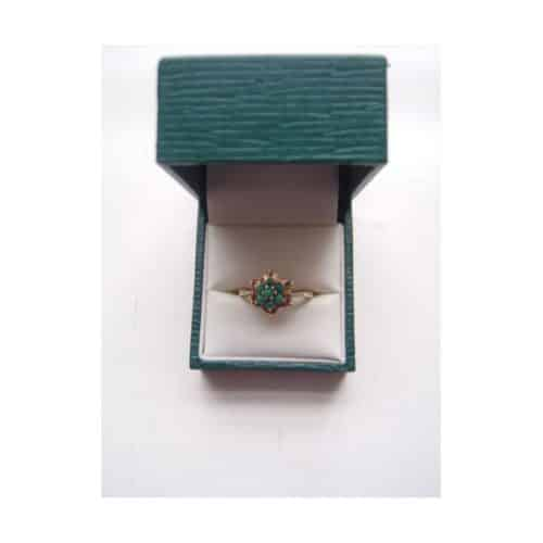 TURQUOISE AND 9CT YELLOW GOLD CLUSTER RING -