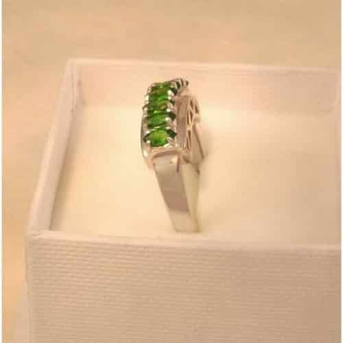 UK HALLMARKED 9CT WHITE GOLD RUSSIAN DIOPSIDE STUNNING RING -