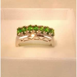 UK HALLMARKED 9CT WHITE GOLD RUSSIAN DIOPSIDE STUNNING RING
