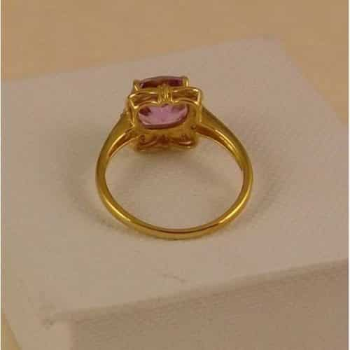 UK HALLMARKED 9CT YELLOW GOLD AMETHYST & DIAMOND RING -