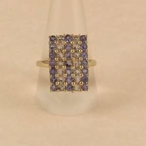 UK HALLMARKED 9CT YELLOW GOLD TANZANITE & AQUAMARINE RING