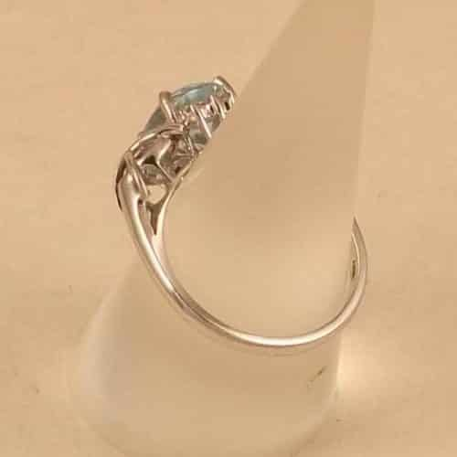 UK HALLMARKED 9K 9CT WHITE GOLD BLUE TOPAZ & DIAMOND RING -