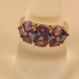 UK HALLMARKED 9K 9CT YELLOW GOLD IOLITE AMETHYST & DIAMOND RING