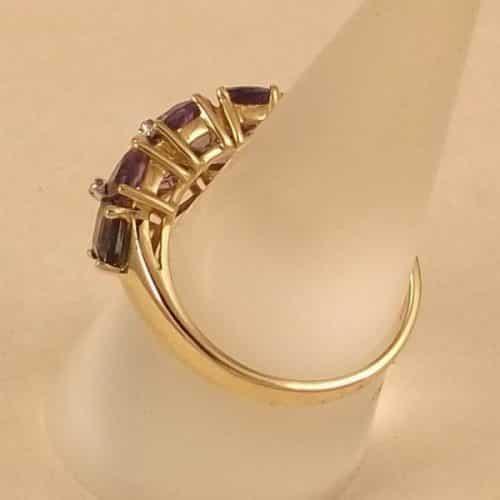 UK HALLMARKED 9K 9CT YELLOW GOLD IOLITE AMETHYST & DIAMOND RING -