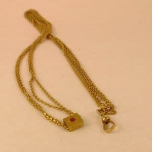 VICTORIAN 14 KT GOLD FILL 50  RED RHINESTONE SLIDER WATCH CHAIN  NECKLACE