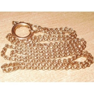 """VICTORIAN 9CT ROSE ROLLED GOLD BELCHER CHAIN - 34"""" -"""