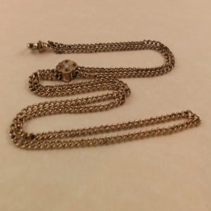 VICTORIAN GOLD FILLED WATCH CHAIN WITH OPAL & SPARKLY STONE