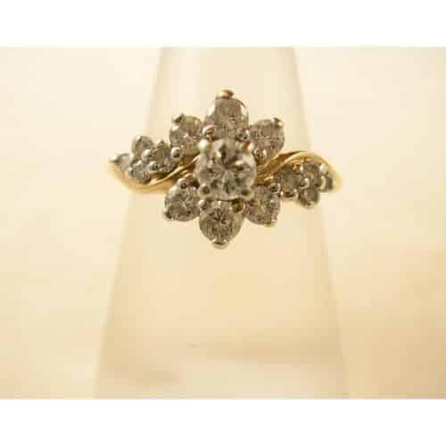 VINTAGE 14K YELLOW GOLD .80CT DIAMOND RING -