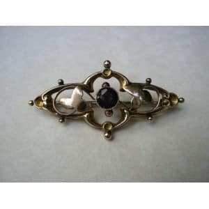 VINTAGE 9 CT ROSE GOLD EDWARDIAN GARNET BROOCH -