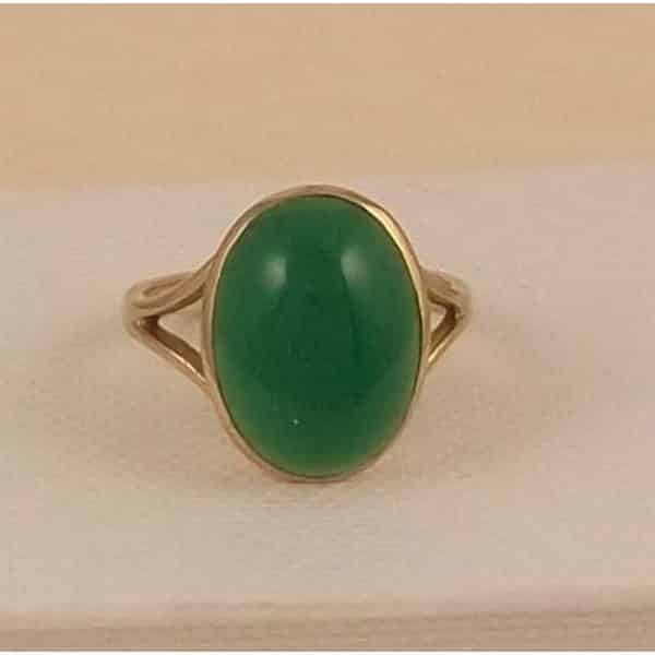 187 Vintage 9ct Gold Green Agate Ringmorpeth Antique Jewellery
