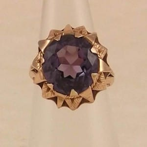 VINTAGE EGYPTIAN ROSE GOLD RING - PURPLE STONE