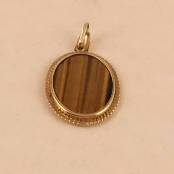 Vintage oval tigers eye gem set 9ct gold oval pendantmorpeth antique primary menu mozeypictures Images