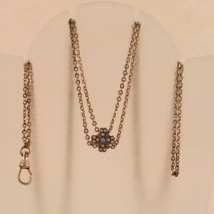 VINTAGE WATCH CHAIN & SLIDE WITH OPALS - GOLD FILLED