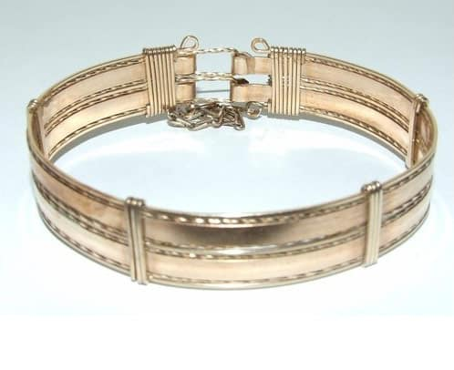 VINTAGE ART DECO HEAVY 9CT GOLD PLATED ROLLED GOLD BANGLE -