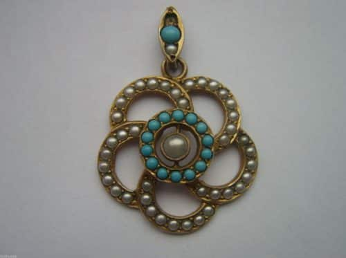 ANTIQUE VICTORIAN SEED PEARL AND TURQUOISE PENDANT -