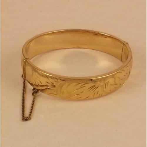 VINTAGE, ENGRAVED, ROLLED GOLD GOLD BANGLE -
