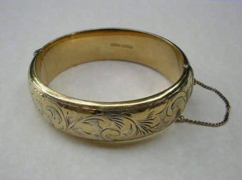 VINTAGE GOLD ON SILVER WIDE BANGLE -