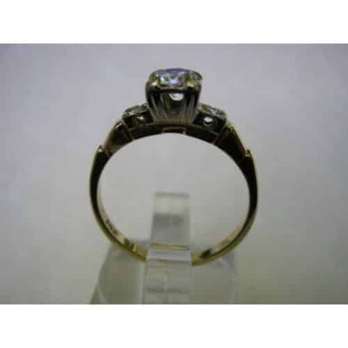 VINTAGE THREE STONE .46 CT. DIAMOND ENGAGEMENT RING -