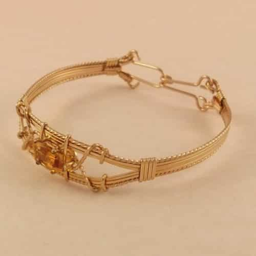 YELLOW CITRINE QUARTZ BANGLE 14K ROLLED GOLD -