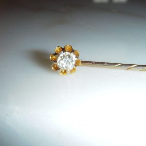 1805-FINE VICTORIAN 20 POINT DIAMOND 9CT GOLD STICK - TIE PIN