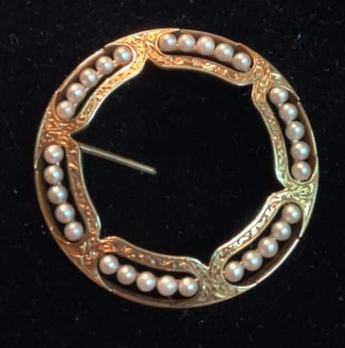 ANTIQUE EDWARDIAN VICTORIAN MOURNING CIRCLE 14 K GOLD PIN BROOCH PEARL -