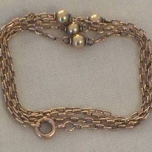 1816-ANTIQUE 9CT ROSE GOLD LADIES BALL DESIGN CHAIN NECKLACE 21 INCHES