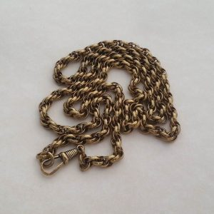 1819a-VICTORIAN ROLLED GOLD EXTRA LONG 32 INCH POCKET WATCH CHAIN, TRIPLE LINK