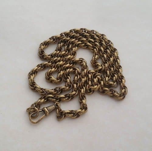 "VICTORIAN ROLLED GOLD EXTRA LONG 32"" INCH POCKET WATCH CHAIN, TRIPLE LINK -"