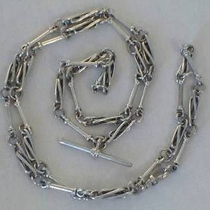 1822-LONG SOLID SILVER ALBERT CHAIN STYLE NECKLACE 28 INCHES