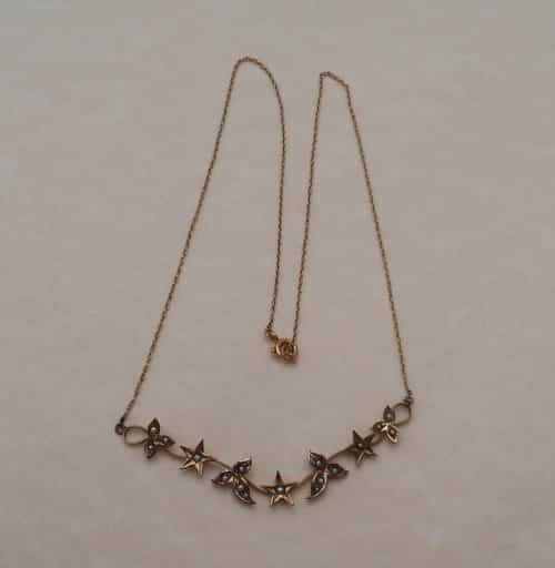 ANTIQUE 1900S 9CT GOLD - LEAF & STAR MOTIF - SEED PEARL LAVALIERE NECKLACE -
