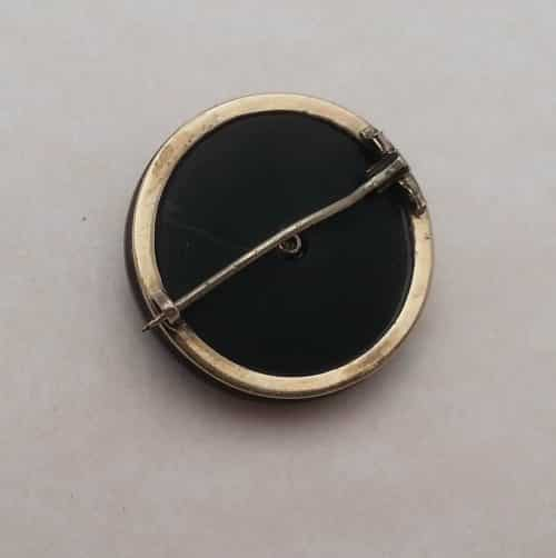 GORGEOUS VICTORIAN 14K SOLID GOLD ONYX W/ SEED PEARL MOURNING PIN -