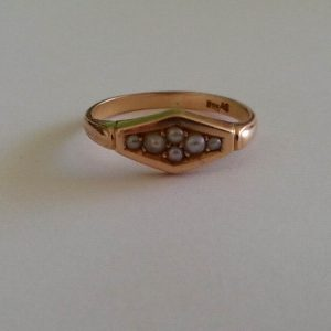 1845A-ANTIQUE 14CT GOLD SEED PEARL LADIES RING