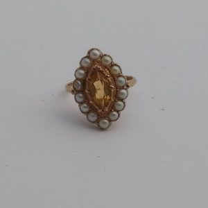 1846A-ANTIQUE 14CT GOLD SEED PEARL LADIES RING