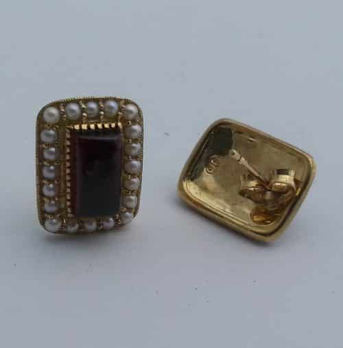 BEAUTIFUL 9CT GOLD GARNET & SEEDPEARL EARRINGS -