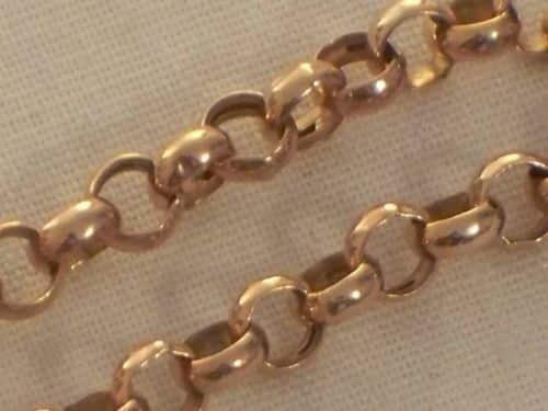 9CT ROSE GOLD LADIES BELCHER LINK CHAIN BRACELET -