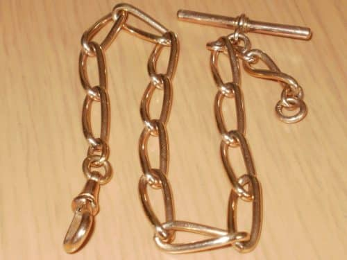 ANTIQUE 9CT ROSE ROLLED GOLD POCKET WATCH CHAIN, CHUNKY LINKS, STAMPED -