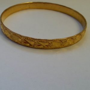 1856a-ANTIQUE ART DECO 22CT GOLD PLATE BANGLE BRACELET