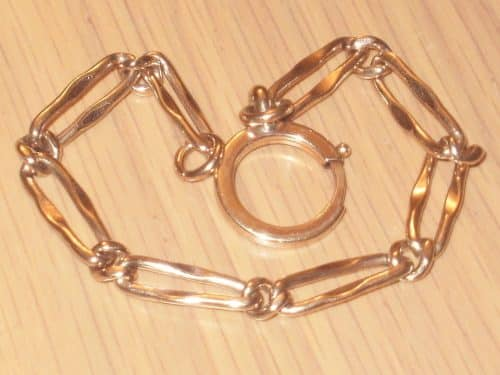 ANTIQUE VICTORIAN 9CT ROSE ROLLED GOLD BRACELET, 8 INCHES, WITH LARGE BOLT CLASP -